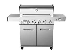 6 Burner Propane Gas Grill in Stainless with LED Controls and Side Burner