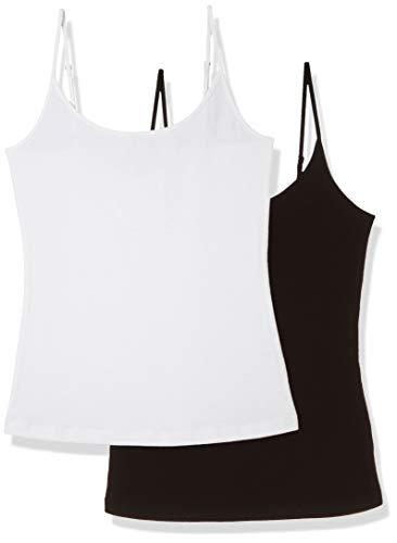 Painted Heart Women's 2pc Adjustable Spaghetti Strap Stretch Cotton Camisole Set Black White Medium