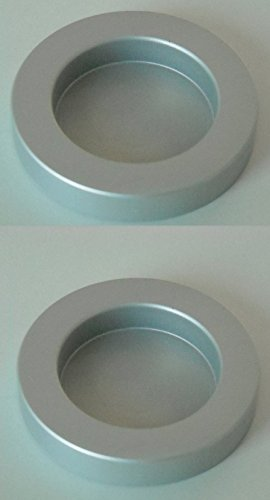 2er Set Griff Aluminium selbstklebend - Zubehör für Schiebetüren Innentüren (Griffmuschel rund silber)