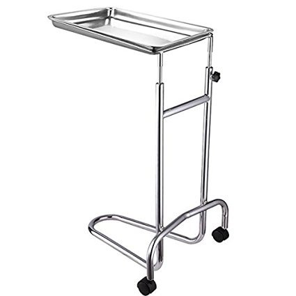 Professional Mayo Instrument Stand Twin-Wheel w/ Removable Stainless Steel Tray Double Post for Equipment Medical Supplies Hospital Daily Patient (Double Post Stand)