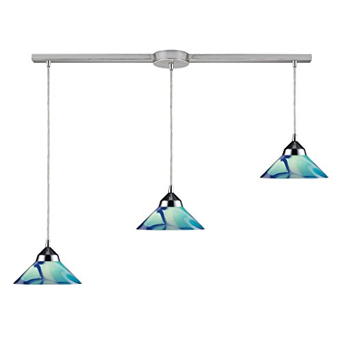 Elk Refraction 3 Light Pendant In Polished Chrome And Carribbean Glass - 1477/3L-CAR