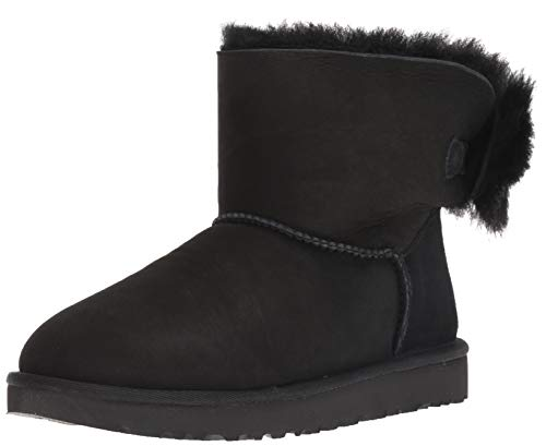 UGG Women's W Fluff Bow Mini Fashion Boot, Black, 10 M US