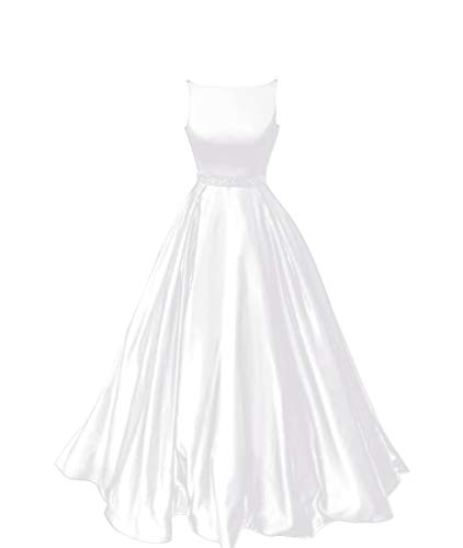 Staypretty Prom Dresses Long Satin Beaded A-line Formal Dress for Women with Pockets 2019 White Size 24