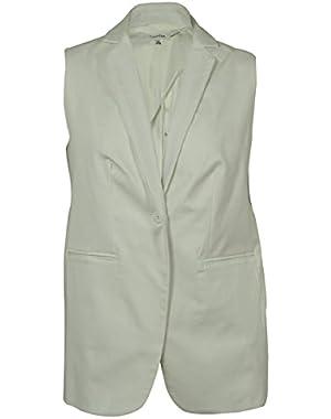 Women's Sleeveless One-Button Blazer