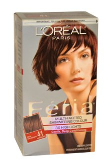 L'Oreal Paris Feria Multi-Faceted Shimmering Color3x Highlights#41 Rich Mahogany Hair Color For Women 1 Application