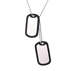 U7 Custom Engraved Medical Alert ID Dog Tag Pendant with Stainless Steel Chain 23""