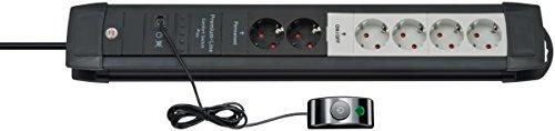 Brennenstuhl Premium-Line Comfort Switch Plus Steckdosenleiste 2+4-fach schwarz/lichtgrau mit Hand-/Fußschalter, 1156050071