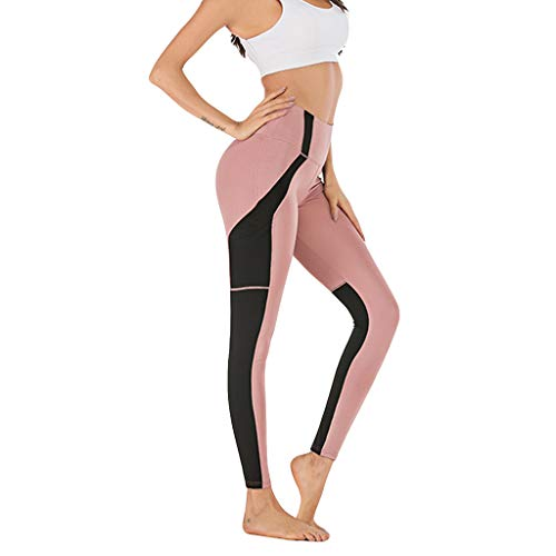 iHPH7 Women Yoga Capris Cropped Leggings-Regular and Plus Size Screen Stitching Mobile Phone Pocket Sports Yoga Nine-Minute Pants (S,Pink)