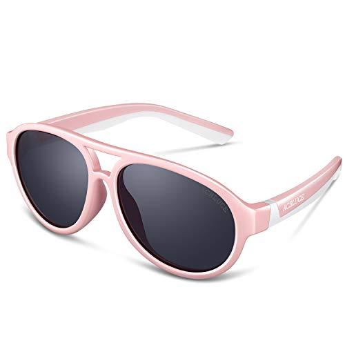 Sport Polarized Sunglasses UV 400 for Kids Girls Child Teen Youth Junior Baseball Cycling Running, Bright Pink /White Frame grey Lense
