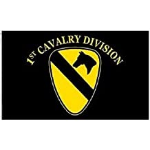 3x5 US Army 1st First Cavalry Division Black Flag 3'x5' Full Letter Version (EE) Super Polyester Nylon Fade Resistant Double Stitched Premium Penant House Banner Grommets