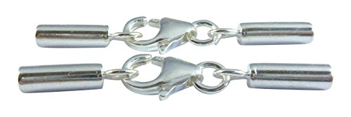 2 Mm Cord Ends - Sterling Silver 925 Lobster Clasp with End Caps 4 Sets, 2.6x34mm Lobster Claw with 2mm ID End Tubes
