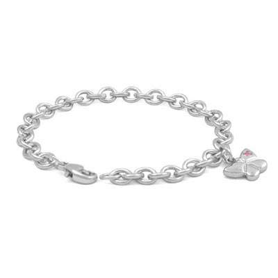(6 3/4 In Silver Pink Sapphire Domed Butterfly Charm Bracelet For)