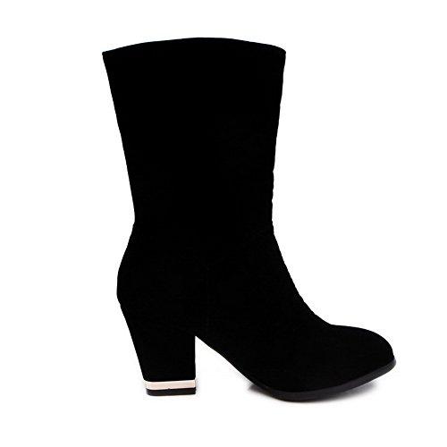 AllhqFashion Mujeres Puntera Redonda Sólido Caña Media Tacón ancho Botas con Colgantes Negro