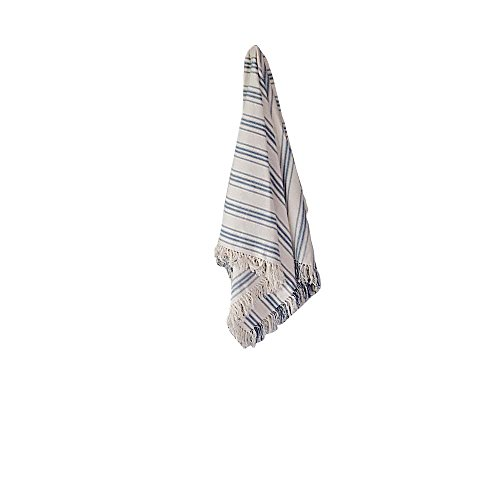 (Home Collections by Raghu 50x60 Grain Sack Stripe Colonial Blue-Cream Afghan)