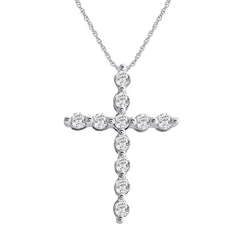10K White Gold Diamond Cross Pendant Necklace (1/4 Carat) with Silver Chain - IGI Certified