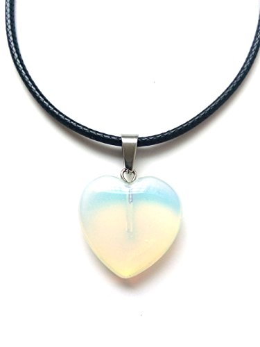 - AIMITH Heart Shape Love Pendant Onyx Crystal Gemstone Rock Stone Chakra Necklace Jewelry (Opal)