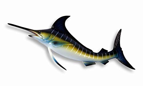 Hand painted Blue Stripe Marlin Fish Wall Mount Decor Plaque 8