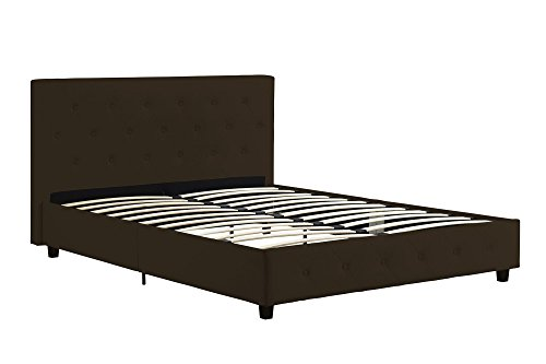 DHP Dakota Platform Bed with Tufted Upholstery in Faux Leather, Stylish Headboard, Includes Side Rails, Queen Size, Brown ()