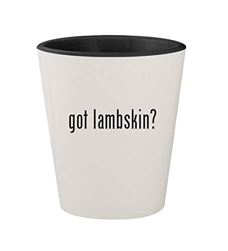 got lambskin? - Ceramic White Outer & Black Inner 1.5oz Shot - Natural Lambskin Comforter