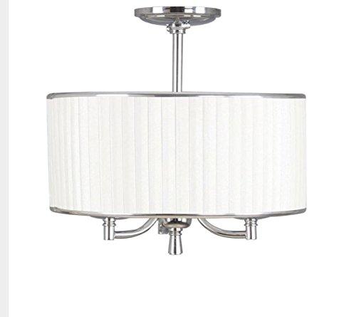 - Home Decorators Anya 3 Light Chrome Semi Flush Mount Pleated Cream Fabric Shade