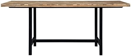 Thompson Dining Table with Chevron Inlay Pattern Natural Mango and Matte Black