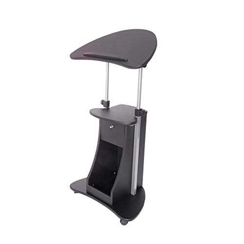 (Techni Mobili RTA-B005-BK Sit-to-Stand Rolling Storage Adjustable Laptop Cart, Black)