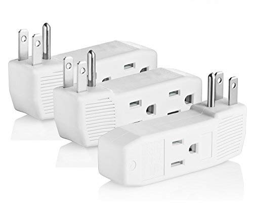 Vertical Outlet - Yubi Power Three Outlets Grounding Adapter Vertical Wall Tap Adapter Double Sided - ETL Listed - Three Pack