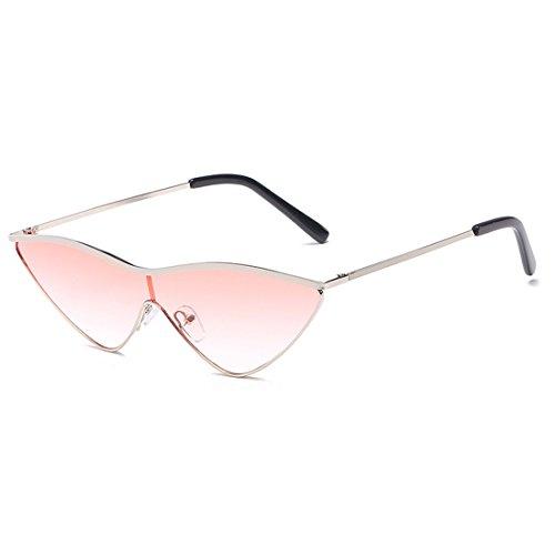 metal pequeñas mujer gafas una rosa sol Yefree de sol verde dama uv400 gafas pieza lente Triangle ojo de Rosa de Plateado mujeres de gato U5w8H5