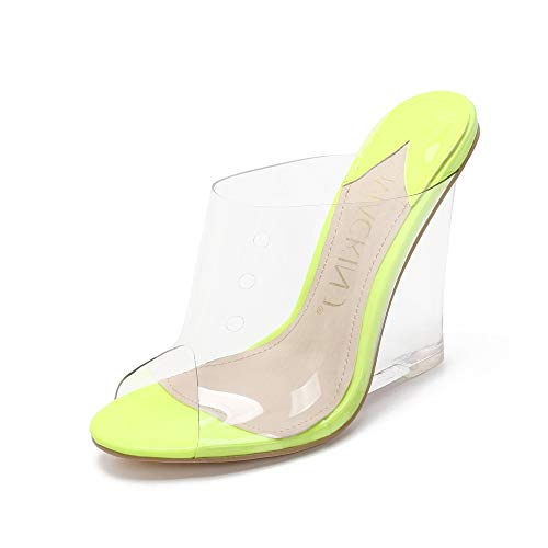 MACKIN J 405-1 Women's TPU Lucite Clear Wedge Heel Open Toe Slip On Mule Dress Shoe (7, NEON Yellow)