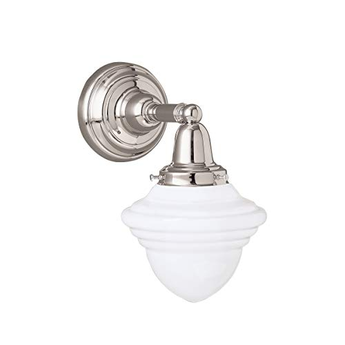"""Norwell Lighting 8201 Bradford 11"""" Tall Single Light Bathroom Sconce with White, Polished Nickel with Acorn Glass"""