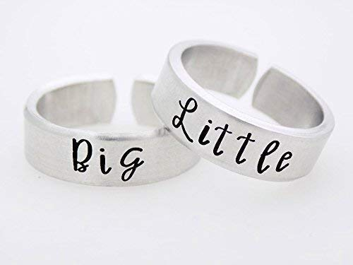 Sorority Sisters, Sister Gift, Handstamped Adjustable Rings, Stamped Metal Ring set, Matching set sorority Sister, Big, Little