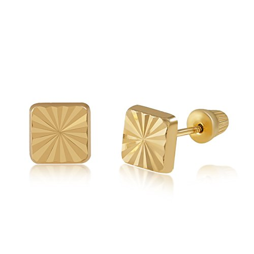 Balluccitoosi 14k Gold Tiny Diamond Cut Square Stud Earrings for Women & Girls - Real Hypoallergenic for Sensitive Ears, Small & Minimalist 14kt Solid Yellow Gold Earring