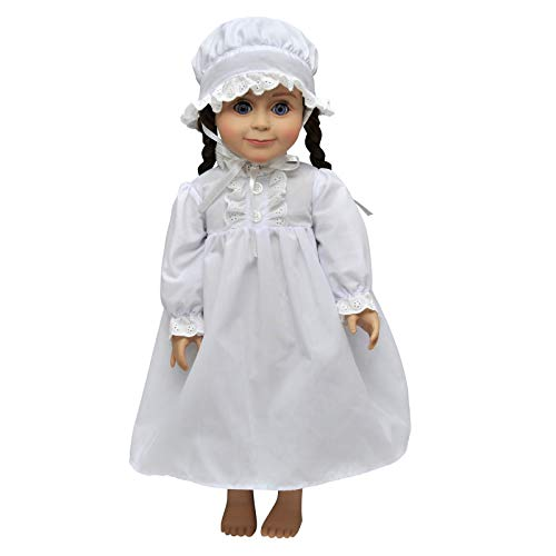 The Queen's Treasures Officially Licensed Little House on The Prairie Sleepwear Set. A Full Length Nightgown Complete with Nightcap Designed to Fit Laura Ingalls 18
