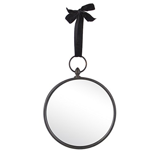 NIKKY HOME 10 Inch Round Metal Framed Wall Mirror with Black Velvet Ribbon (Mirrors Decorative Framed Metal)