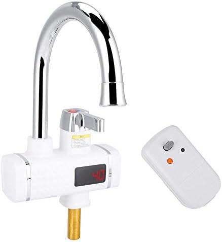 デジタルディスプレイIPX4と3000Wキッチンインスタント電気温水器暖房の蛇口 (Color : White)