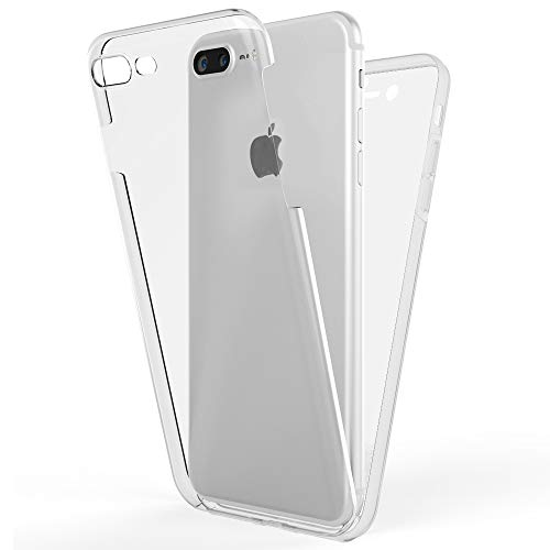 NALIA Full Body Case Compatible with iPhone 8 Plus / 7 Plus, Protective Front & Back Smart-Phone Hard-Cover with Tempered Glass Screen Protector, Slim Shockproof Bumper Thin Skin, Color:Transparent