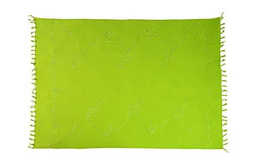 Original El Vertriebs Ciffre Sarong Pareo Wickelrock Strandtuch Lunghi Dhoti Wickeltuch Saunatuch Tolle Stickerei verschieden Farben + Schnalle Grün PELG