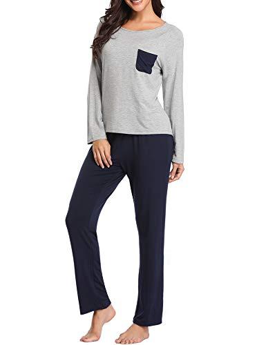 - Lusofie Loungewear Set Women Round Neck Pajama Set Long Sleeve Top & Elastic Waist Long Pants Soft Sleepwear (Light Grey/Navy, M)
