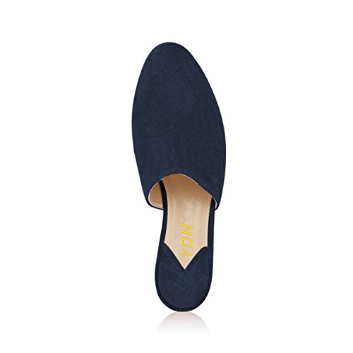 Low Casual Block Toe Navy Heel YDN Clogs Stacked On Women Slippers Mules Slide Closed Pw8EAvq