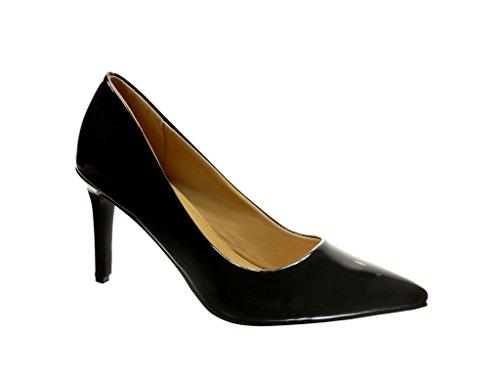 Angkorly - damen Schuhe Pumpe - Stiletto - Patent Stiletto high heel 8.5 CM - Schwarz