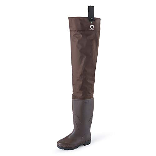 TideWe Hip Wader, Lightweight Hip Boot for Men and Women,2-Ply PVC/Nylon Fishing Hip Wader Brown Size 12