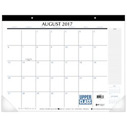 Upper Class Student Academic Monthly Desk Pad Calendar, August 2017 - July 2018, 21-3/4' x 17' (TL2417)