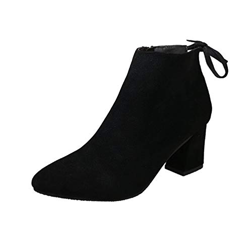 Yukun zapatos de tacón alto Botas De Tacón Grueso Botas De Mujer Otoño E Invierno De Tacón Grueso De Moda De Tacón Alto Black