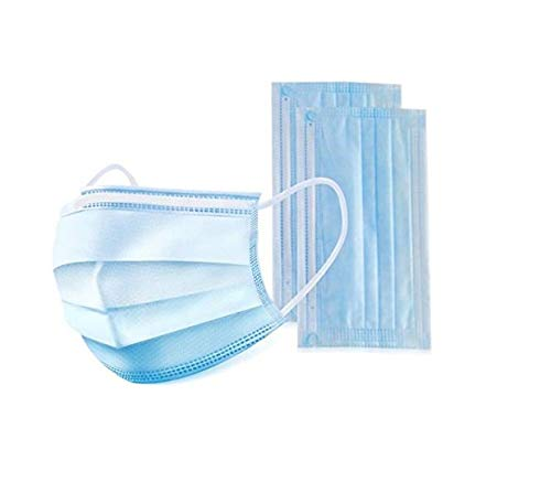 Jullynice, 50 disposable 3-layer surgical dust masks, universal size, hypoallergenic, latex-free, blue color
