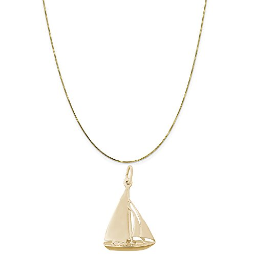 Rembrandt Charms 14K Yellow Gold Cutter Sailboat Charm on a 14K Yellow Gold Box Chain Necklace, 18