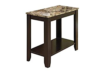 Monarch specialties I 3114, Accent Side Table, Marble-Look Top, Cappuccino, 24 L