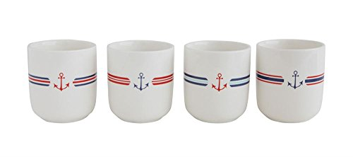 Anchor Striped White With Red And Blue 3.25 x 4 Stoneware Coffee Mugs, Set of 4 (Striped White Mugs Blue Coffee And)