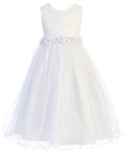 BluNight Collection Big Girls Flower Girl First Communion Pageant Wedding Birthday Party Girl Dress White 8 (4KD68)]()