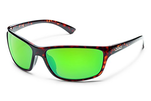 Suncloud Sentry Polarized Sunglasses, Tortoise Frame, Green Mirror Polycarbonate - Sunglasses Logo C