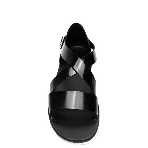con negro Sandalia ZJM abierta clase empresarial con antideslizante estilo Tamaño de suave cuero 37 superior para de genuino regalo caja de punta hombre sandalia cuero diseño FrHw5qY